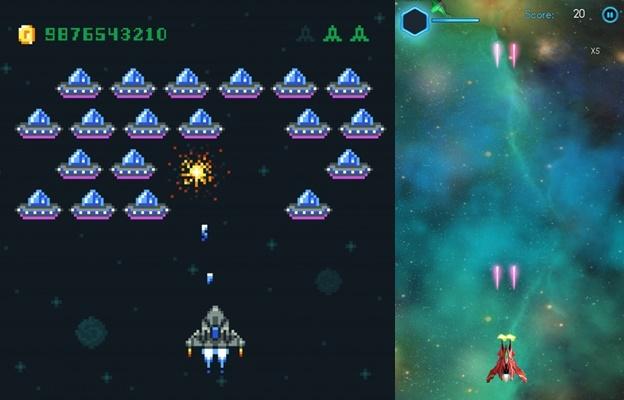 versi 2D game Space Wars beda jaman, versi di era prosesor 8 bit dan sekarang ini 64 bit