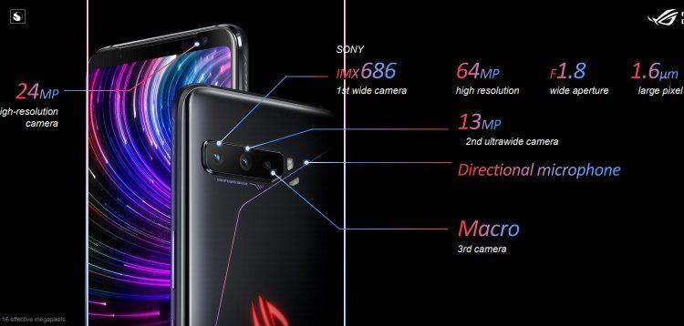 Sistem triple kamera ASUS ROG Phone 3
